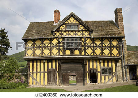 Stock Photography of England, Shropshire, Stokesay, Exterior view.