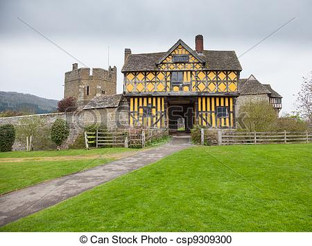 Stock Photography of Stokesay Castle in Shropshire on cloudy day.