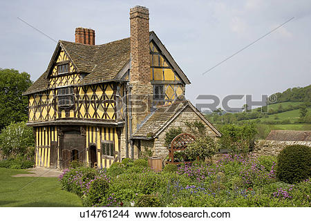 Stock Photo of England, Shropshire, Stokesay, Exterior view of the.