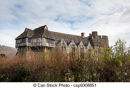Stock Photography of Stokesay Castle in Shropshire surrounded by.
