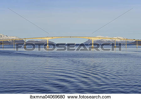 "Stock Photography of ""Sortland Bridge over wavy blue waters of."