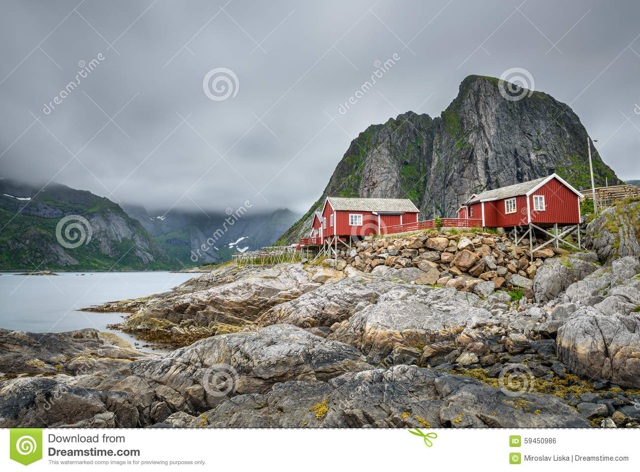 Waterfront Rorbu Cabins In Stokmarknes, Norway Stock Photo.
