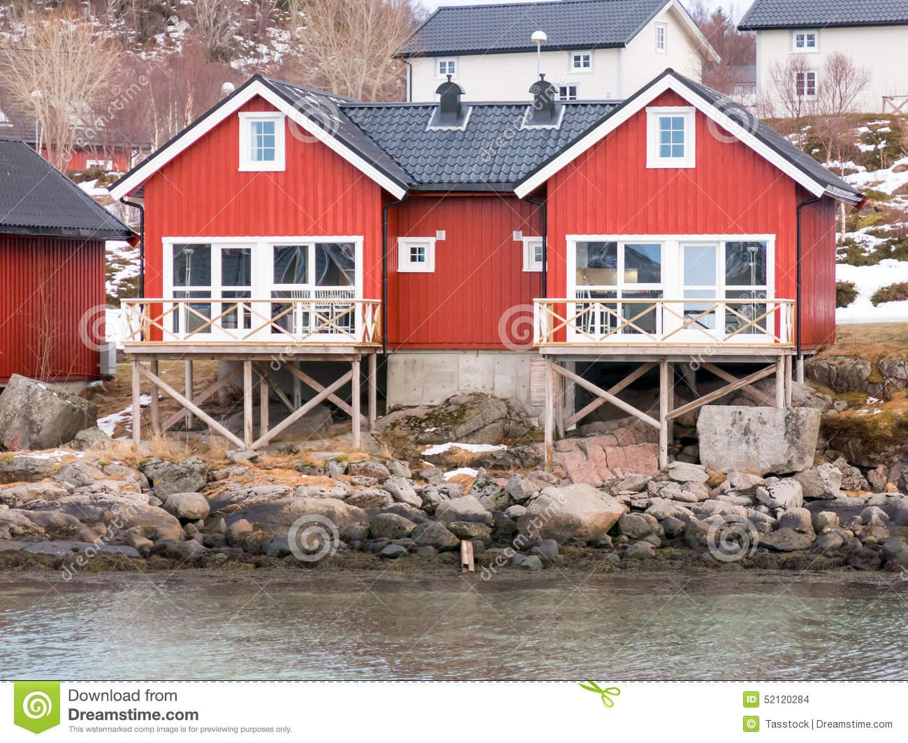 Rorbu Cabins In Stokmarknes, Vesteralen, Norway Stock Photo.