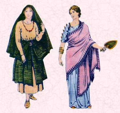Ancient Roman Clothing for Women 062811» Vector Clip Art.