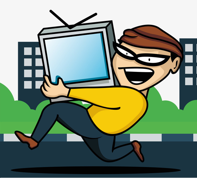 Download Free png Running Thief Stole Tv, Tv Clipart, Steal.