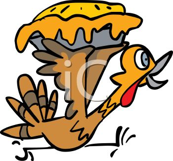 Picture of a Cartoon Turkey Running Frantically Holding a Stolen.