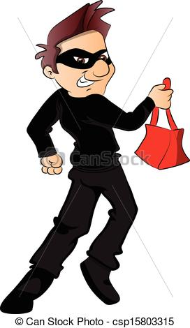 Vector Clip Art of Vector of thief running with stolen handbag.