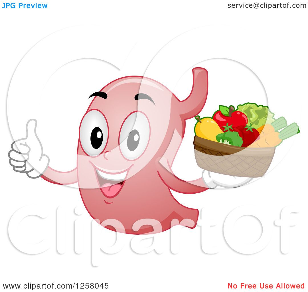 Clipart of a Happy Stomach Character Holding Fruit and a Thumb up.