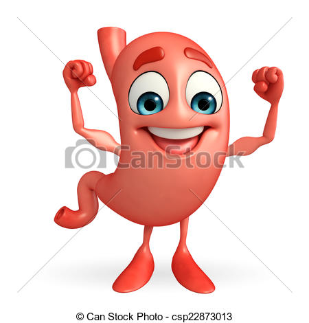 Clipart of Cartoon Character of stomach with bodybuilding.