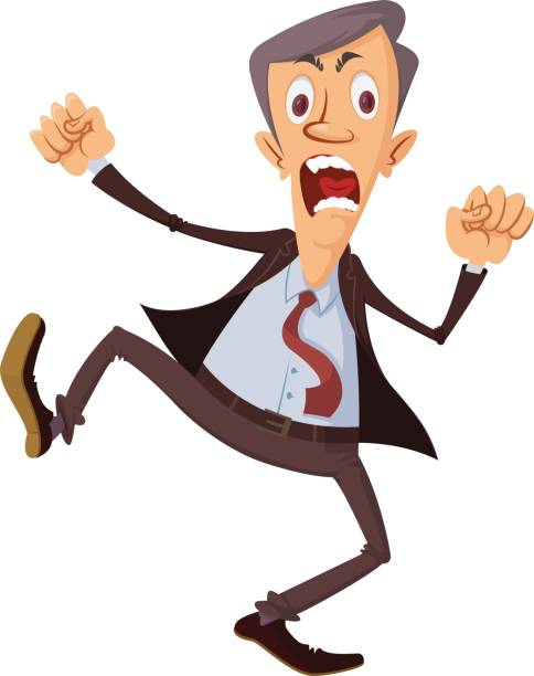 Cartoon businessman get angry and stomping feet » Clipart.