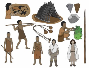 Early Humans Clip Art: Paleolithic / Early Stone Age People and Artifacts.