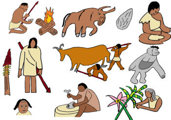 Early Humans and Stone Age Clip Art, 24 Images (Color Only).