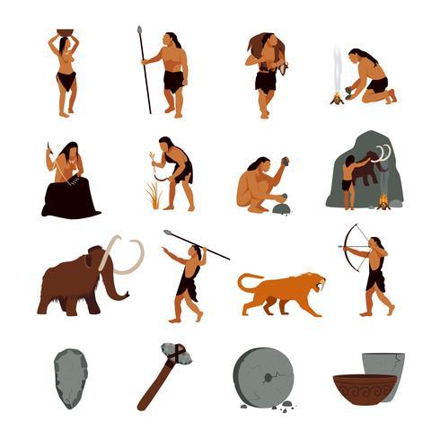 Prehistoric Stone Age Caveman Icons.