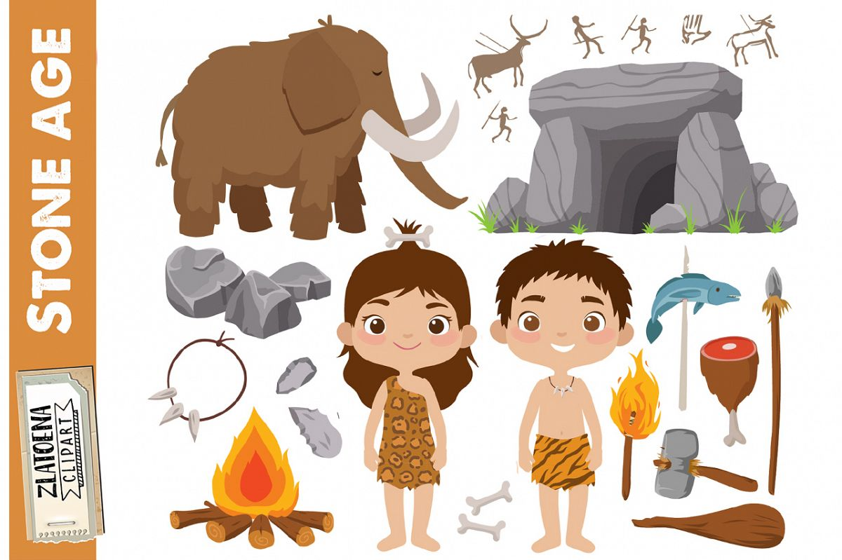 Prehistoric clipart Stone age clipart Ice age graphics.
