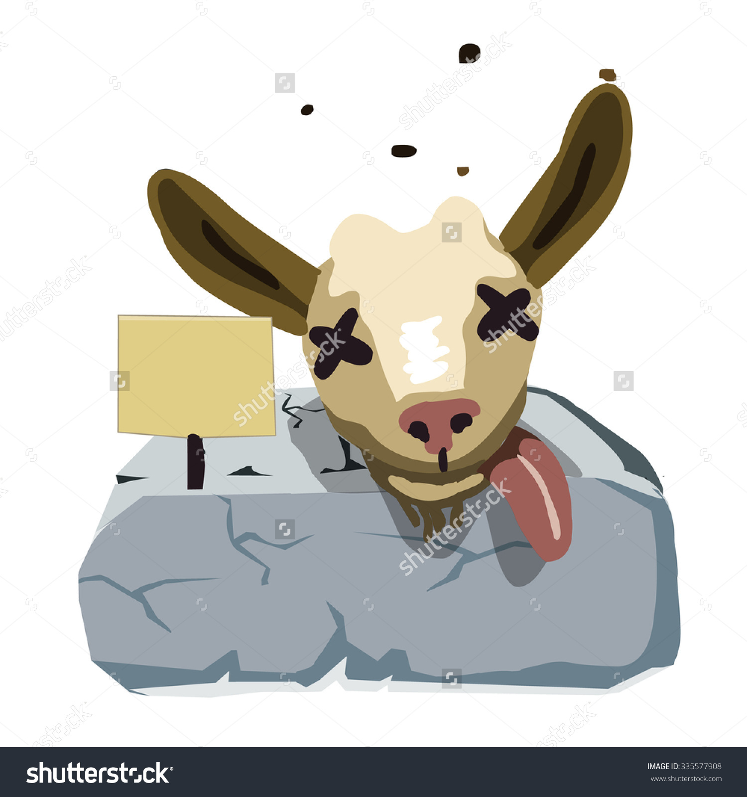 Dead Goat Head On Stone Black Stock Vector 335577908.