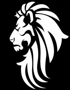 Black & White Lion Head clip art.