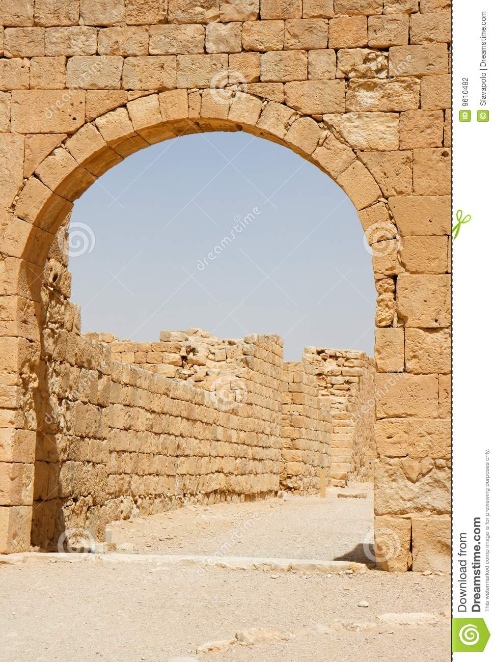 Ancient Stone Arch And Wall Stock Photography.