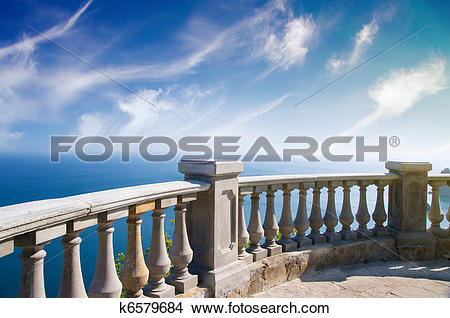 Stock Photo of Kind on ocean from a stone balcony k6579684.