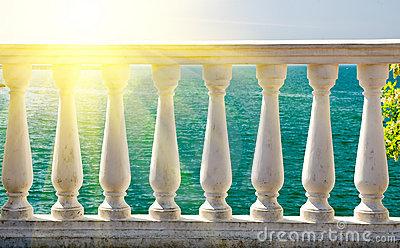 Stone Balcony Stock Photo.