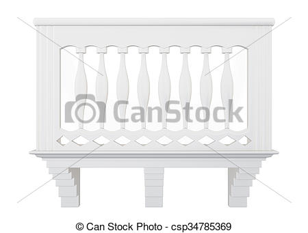 Stock Illustration of Balcony of stone front view. 3d rendering.