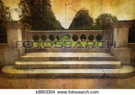 Stock Photo of Vintage Stone Balcony k8853354.