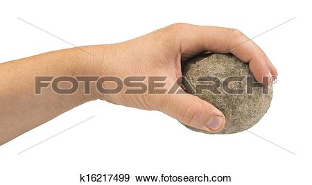 Stock Photograph of Hand holding stone ball k16217499.
