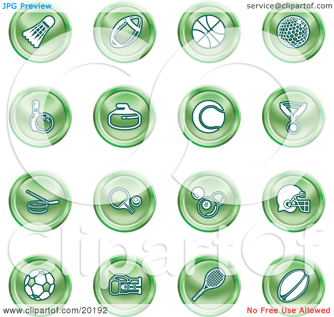 Clipart Illustration of a Collection Of Green Athletics Icons Of A.