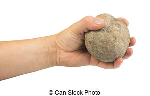 Stock Photographs of Hand holding stone ball. Piece of stone.