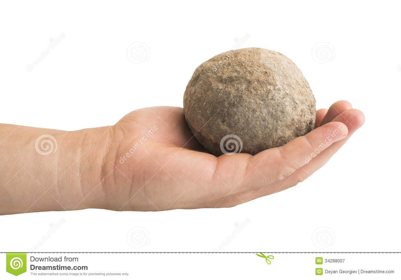 Hand Holding Stone Ball Royalty Free Stock Photography.