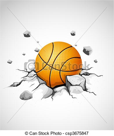 Vectors Illustration of basketball ball in cracked stone.
