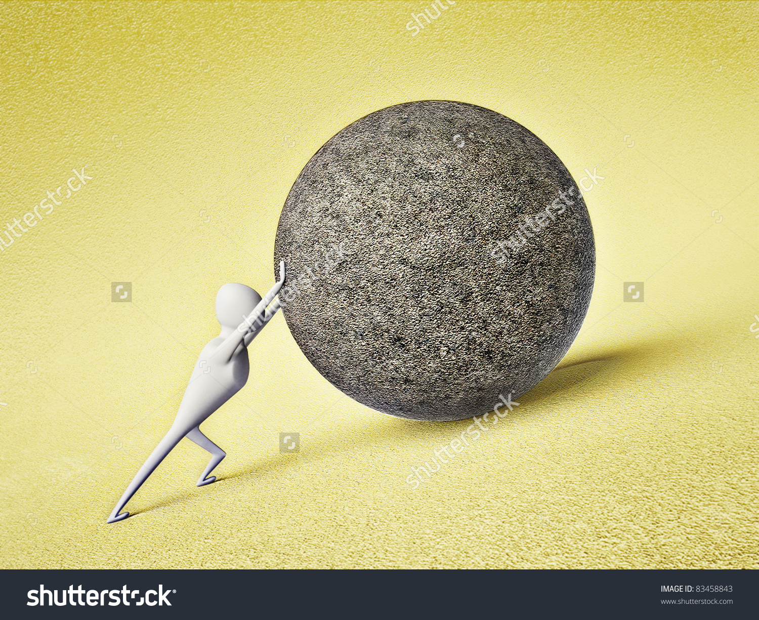 Strong Man Pushing A Large Stone Ball Stock Photo 83458843.