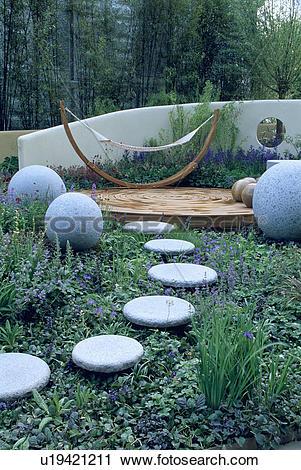 Stock Photography of Stone balls in modern garden u19421211.