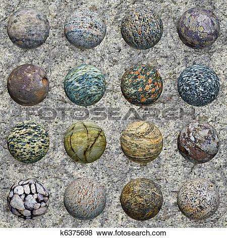 Stock Illustration of Set of stone balls on granite wall.
