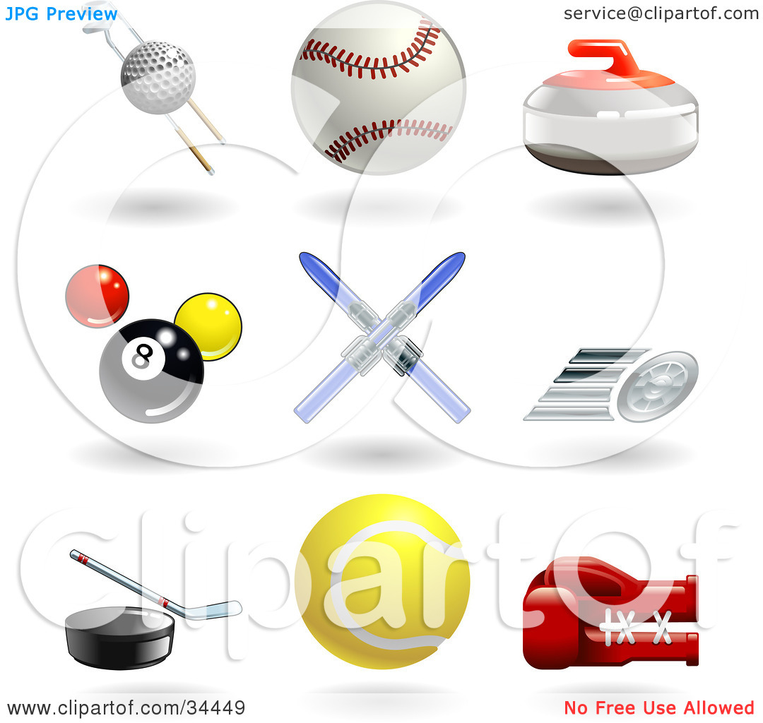 Clipart Illustration of a Golf Ball With Clubs, Baseball, Curling.