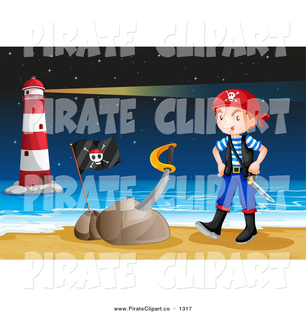 Vector Clip Art of a Pirate Boy and Sword in a Stone on a Beach at.