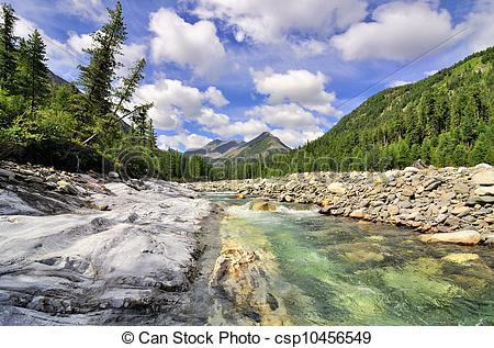 Stock Photo of Mountain River and monolithic stone beach.