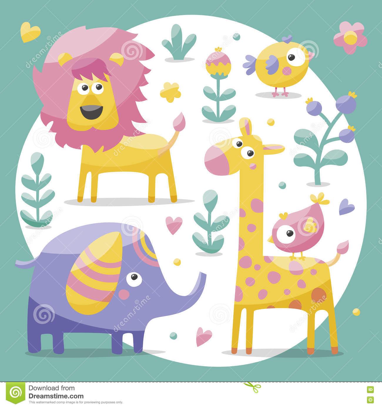 Cute Set With Elephants, Lion,giraffe, Birds, Plants, Jungle.