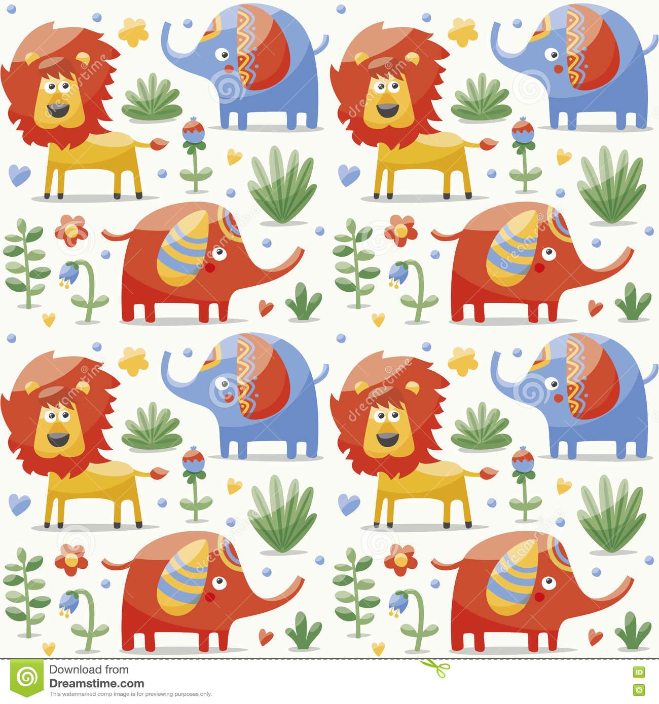 Seamless Cute Pattern Made With Elephants, Lion,giraffe, Birds.