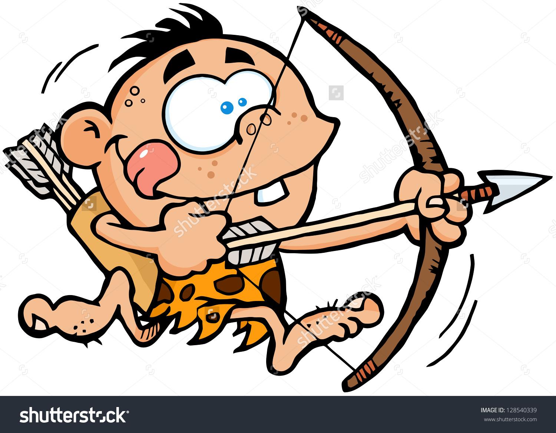 Cartoon hunter bow and arrow clipart.