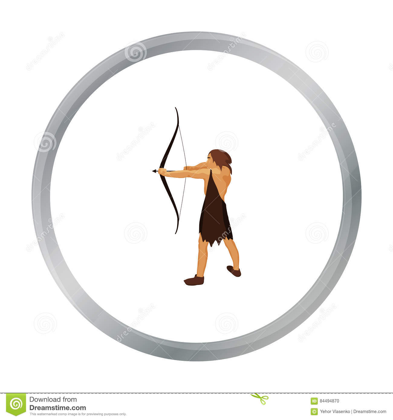 Caveman With Bow And Arrow Icon In Cartoon Style Isolated On White.