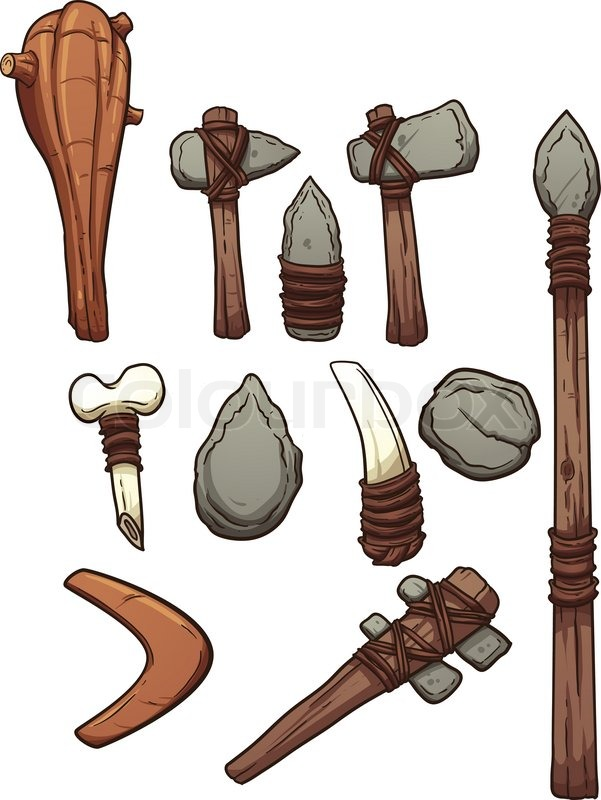 Prehistoric weapons. Vector clip art illustration with simple.