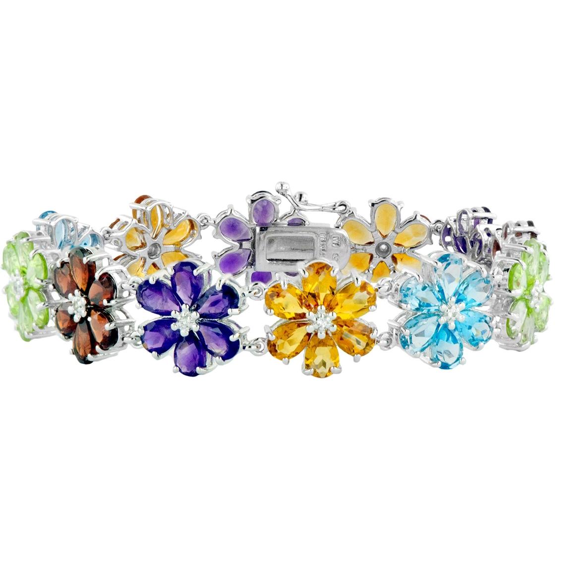 Robert Manse Designs Sterling Silver Multi Stone Flower Bracelet.