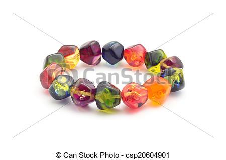 Stock Photography of gem stone bracelet on white csp20604901.