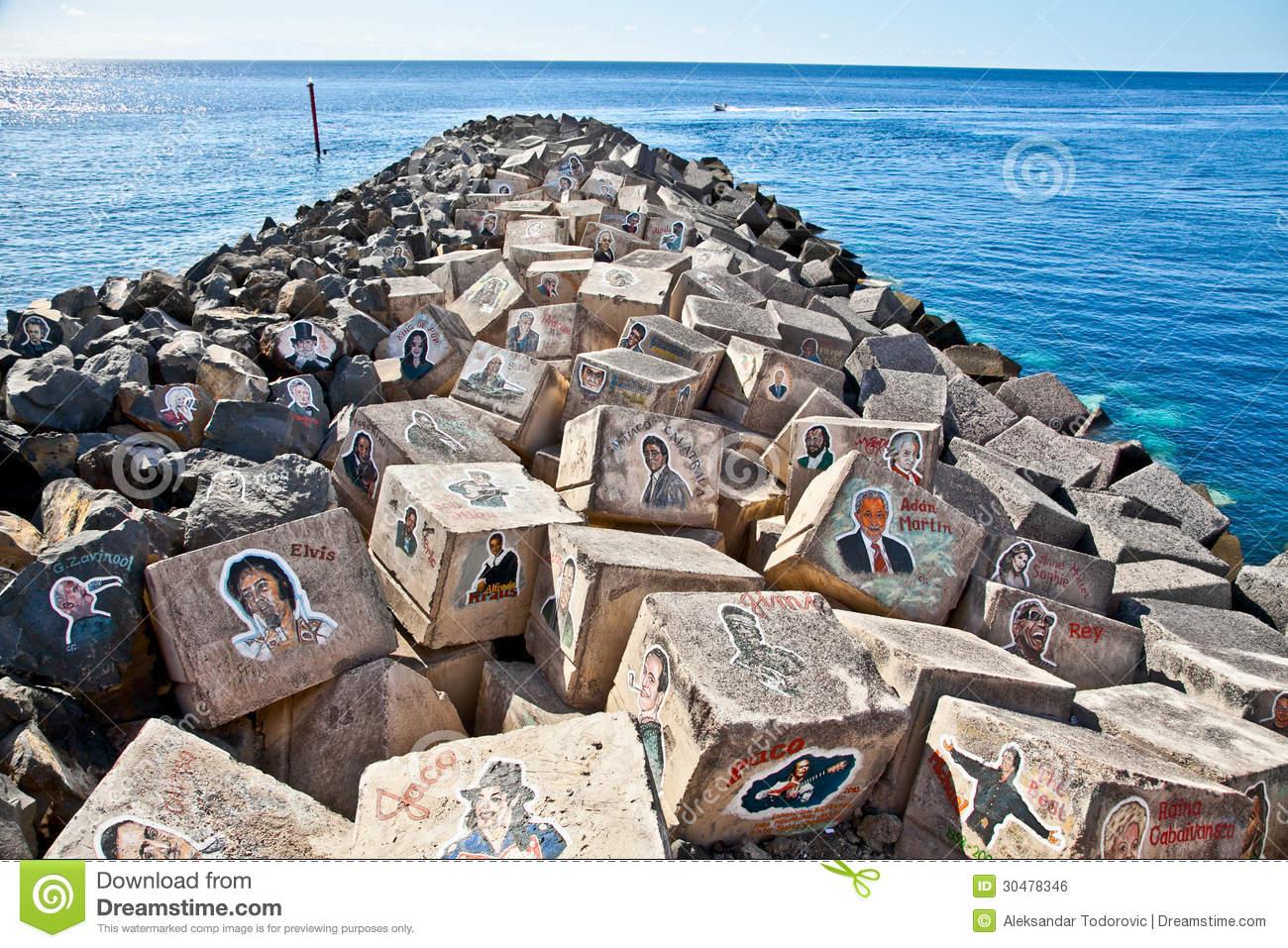 Graffiti On A Stones Of A Breakwater In Santa Cruz De Tenerife.