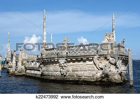 Stock Photo of Stone breakwater barge at the Vizcaya Museum.