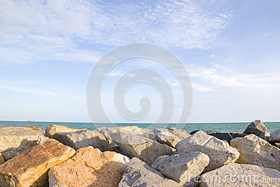 Stone Breakwater For Protection Of Coast Royalty Free Stock.