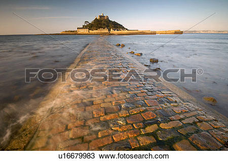 Stock Photo of England, Cornwall, Penzance, The old stone causeway.