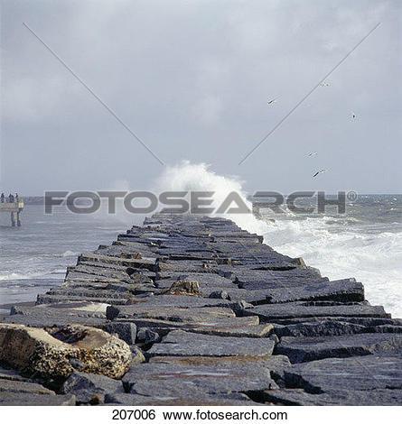 Stock Images of Stone embankment near sea shore 207006.