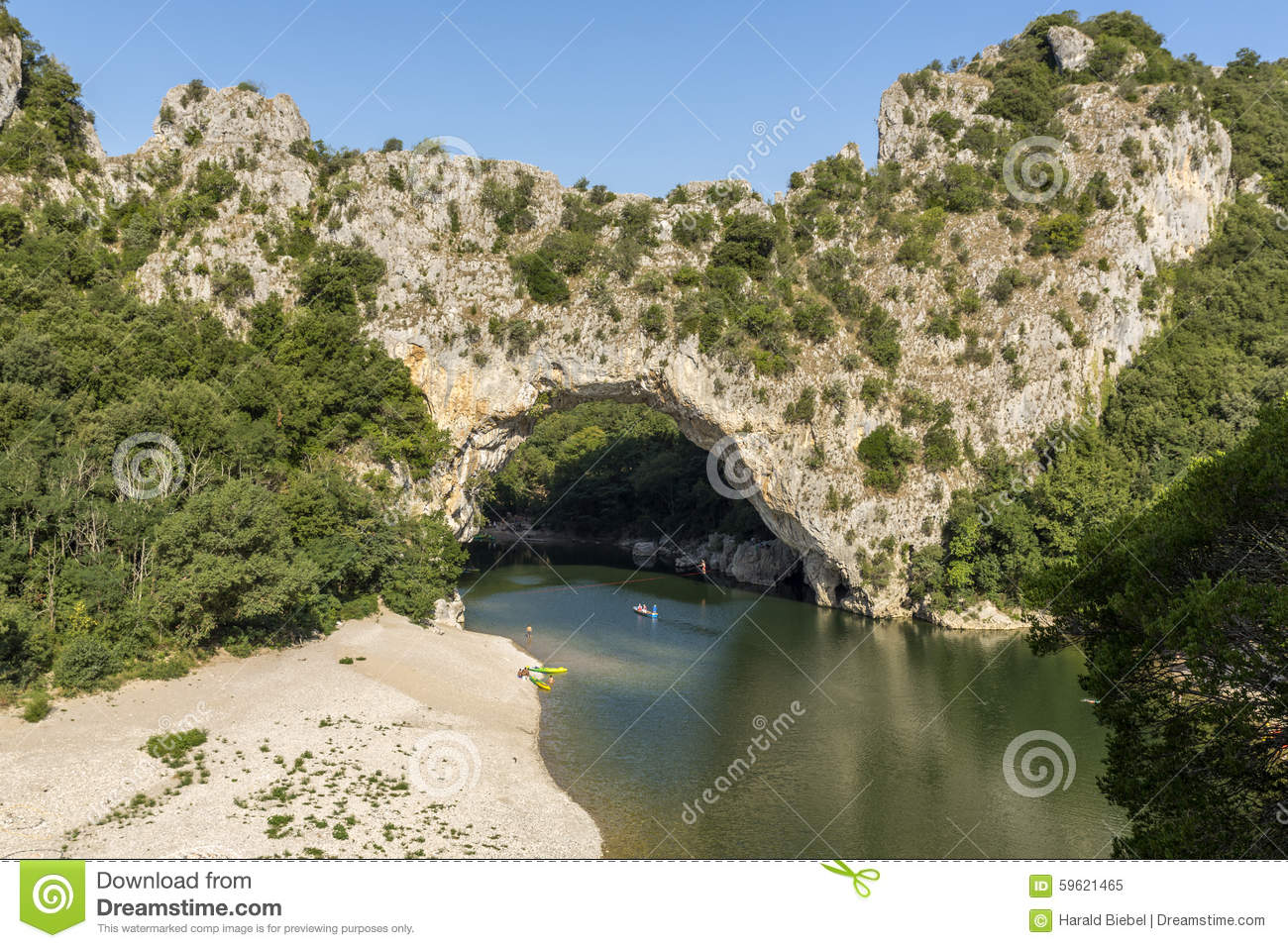 Pont D'arc Over The River Ardeche, South France Stock Photo.