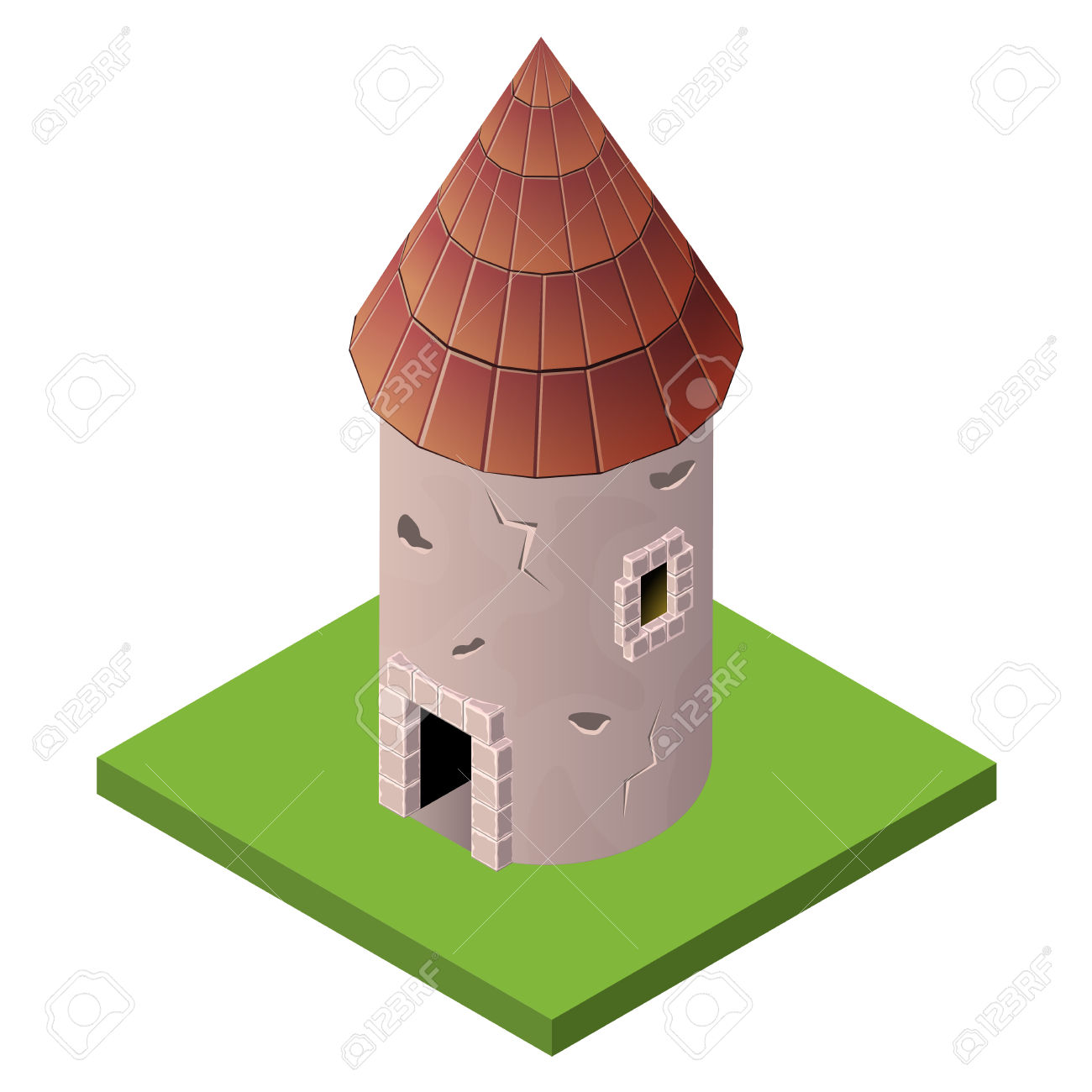 Isometric Icon Of Medieval Tower. Vector Illustration. Stone.